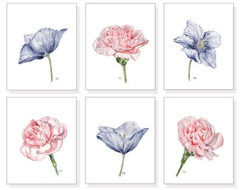 Flower Watercolor Flower Art Prints Floral Watercolor Floral Art Prints Pink Flower Prints Blue Floral Prints Modern Flower Art Set Of 6