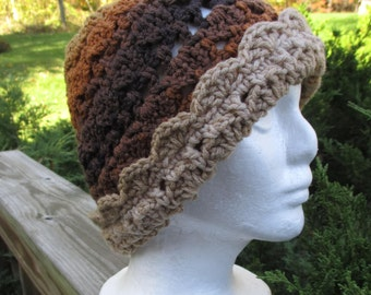 Crocheted Cloche Hat / Vintage Inspired / Brown / Tan / Orange / Fall Colors