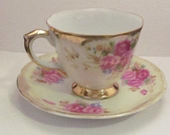 Vintage Trimont Japan Rose design Tea cup