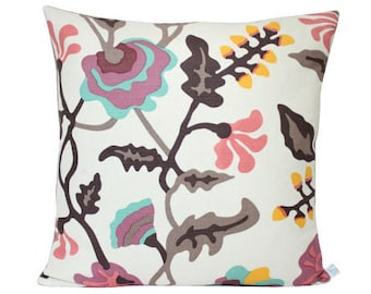 Alan Campbell Potalla Pillow Cover with Coral, Raspberry, Blue and Brown Quadrille Fabric