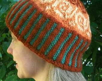 Autumn Swirl Fair Isle Knitted Cap