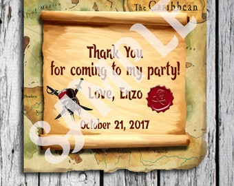 Pirates of the Caribbean Favor tags, Gift tags, Pirates of the Caribbean Thank you tags, Pirates of the Caribbean Sticker tags