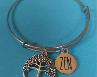Silver Zen Bracelet with Tree Charm