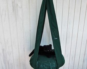Outdoor Cat Bed, Deep Forest Green & Hibiscus, Hanging Cat Bed, Pet Furniture, Cat Tree, Indoor Outdoor Cat Bed