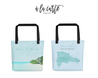 Dominican Republic Tote Bag Destination wedding guest gift - all over printed beach bag