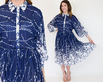 70s Blue Floral Dress | Navy White Print Day Dress, Large