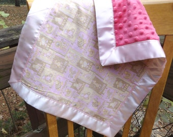 Pink Patchwork Nursery Print and Minky Toddler Quilt with Satin Binding, Security Blanket - Lovey - Carseat, Stroller, Travel Soother