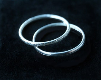 Silver stacking rings, set of 2