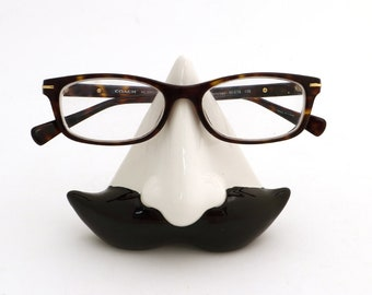 Mustache glasses holder, moustache glasses holder, glasses holder, ceramic nose, father's day gift, gift for him DL