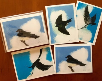 Swallows:  Set of four notecards