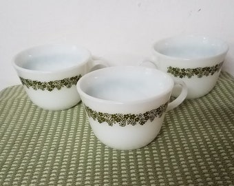 3 Vintage Pyrex Spring Blossom, Crazy Daisies Olive Green Cups