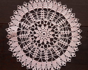 Pink handmade crochet doily No.70