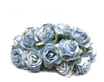 Dusky Blue Classic Mulberry Paper Roses Cr031