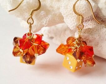 Fall Colored Dice Earrings. Swarovski Earrings, Fall Jewelry, Gambling and Casino Jewelry