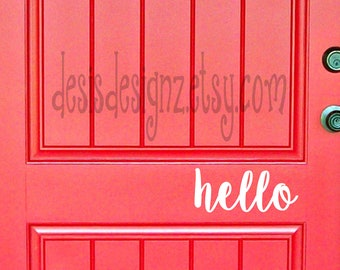 Hello Vinyl Door Decal, personalized door decal, vinyl door sign, front door decal, door lettering, door saying, front door vynil hello