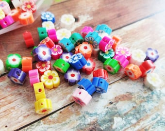 Polymer Clay Beads Assorted Beads Flower Beads 8mm Beads  20 pieces Wholesale Beads