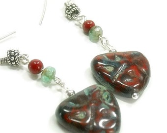 Heart Earrings - Dangle Earrings - Heart Jewelry - Red and Mint Green Picasso Glass Heart Earrings - Retro - Hippie - Boho