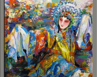 Hand oil painting,modern canvas painting ,framed,ready to hang,huge 36''x36'' original palette knife painting a woman of Chinese opera