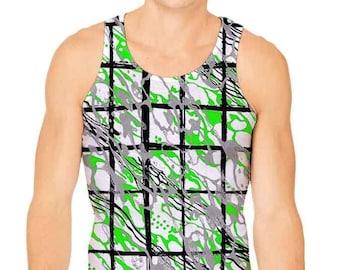 Men's Paint Splatter Camouflage Plaid Tank Top