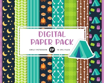 50% OFF SALE! Camping Digital Paper, S'mores Background Paper - Commercial Use, Instant Download