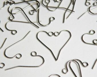 50 French Hook Earrings stainless steel hypoallergenic fishhook earwires for sensitive ears 11mm 21 gauge 1419FN