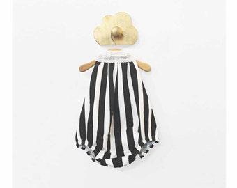 Organic Cotton Black & White Striped Baby Girl Backless Bubble Playsuit - Vertical Stripes Halter Romper Sunsuit