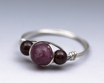 Lepidolite & Garnet Sterling Silver Wire Wrapped Gemstone Bead Ring - Made to Order, Ships Fast!