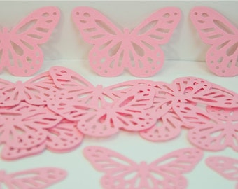 24 Monarch Butterflies Punches/Die Cut-Pink