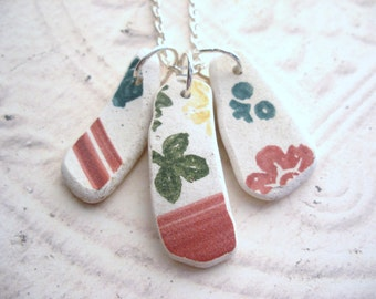 Vintage Pottery Shard Necklace from Scotland in Pink and Green, Scottish Necklace, Broken Plate Jewelry, Upcycled Pendant