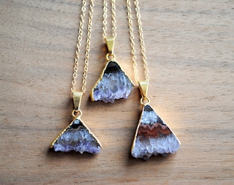 """Amethyst Triangle Slice Necklace. Raw Gemstone Pendant. Gold Plated on 18"""" 14K Gold Filled Chain. Purple Stone. Gold Edged Necklace."""