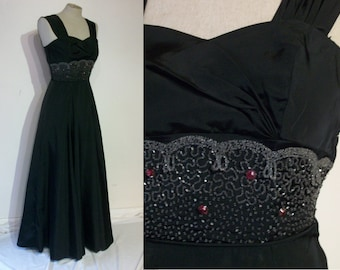 """Superb 1940s evening gown w/beautifully beaded midriff bust 31"""" XS"""