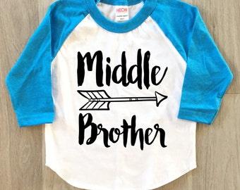 Middle Brother Arrow Raglan - baby boy clothes toddler shirt sibling tshirt