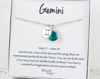 Zodiaque Gémeaux collier en argent, Gemini collier anniversaire mai peut anniversaire bijoux, collier du zodiaque, astrologie collier en argent