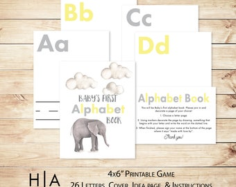 "Alphabet Game Baby Shower DIY ABC Book 4x6"" Baby's First Alphabet Book, book baby shower activity, book themed baby shower"