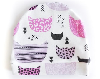 """Purple kittens"" organic cotton cap"