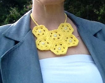 Yellow crochet statement necklace