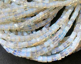 Synthetic White Opalite Cube beads 4x4x4mm- approx 90pcs/Strand