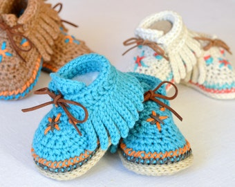 CROCHET PATTERN Baby Moccasin shoes 3 Sizes Photo Tutorial Digital File Instant Download