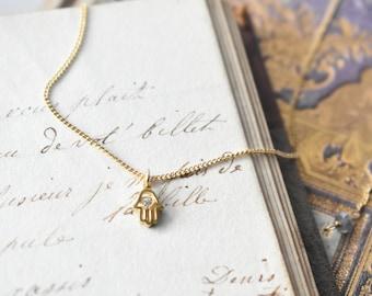 Tiny pendant charm necklace Hamsa Fatima's hand cubic zirconia eye, slide ball clasp size adjustable