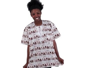 Africa Tradtional Dashiki - White/Maroon