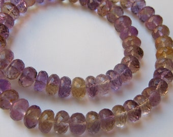 1/2 Strand of Superb Large Ametrine Faceted Rondelles 7.5mm - 8mm Semi precious gemstone beads