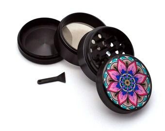 Herb Grinder - Black Aluminum Alloy Mandala Picture Grinder