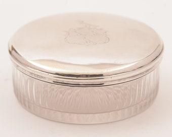 Glass Silver Topped Box, Circa 1820