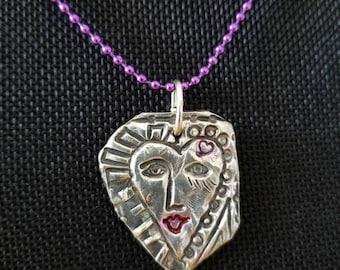 Love yourself artisan fine silver pendant dangles from bright purple ball chain