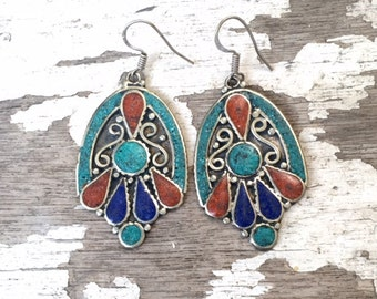 Tibetan Earrings , Turquoise & Coral Earrings , Nepalese Earrings , Boho Turquoise Earrings , Large Dangle Earrings