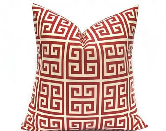 15% Off Sale Pillows, RED PILLOWS, Decorative Pillow, Greek Key, Red throw Pillows, Red Pillow Covers, Accent Pillows, Cushion Covers , Red