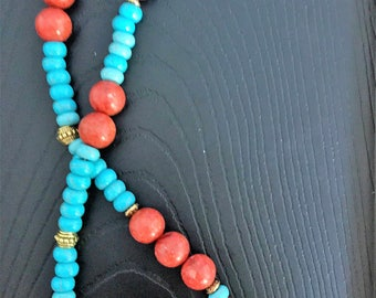 Turquoise and coral with gold spacer beads