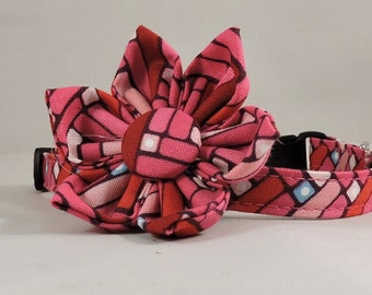 Cat Collar or Kitten Collar with Flower or Bow Tie - Happy Chevron