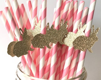 Easter Paper Straws - First Birthday - Little Bunny - Easter Bunny Paper Straw - Glitter Decor
