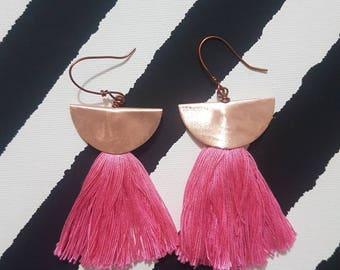 Earrings with cotton tassel